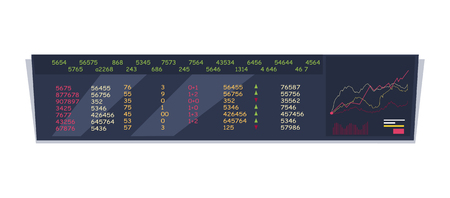 attentions: Monitoring stock exchange indexes vector. Flat style design. Online training instruments concept. Financial indexes in real time illustration. Giant long monitor with exchange rates and graphs.