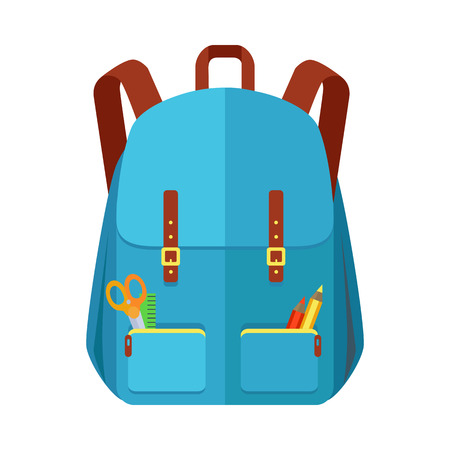 Blue backpack schoolbag icon in flat style. Hiking backpack. Kids backpack with school supplies, education and study school, rucksack, urban backpack vector illustration on white background Illustration