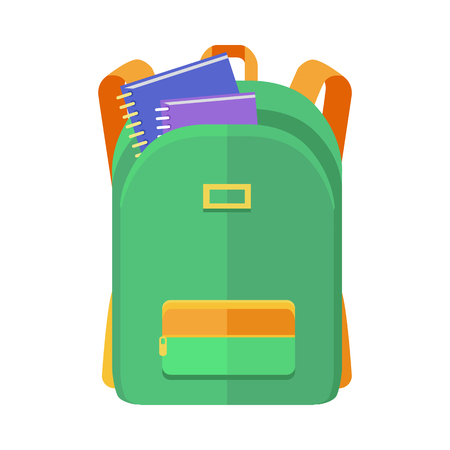 Green backpack schoolbag icon in flat style. Hiking backpack. Kids backpack with notebooks, education and study school, rucksack, urban backpack vector illustration on white background
