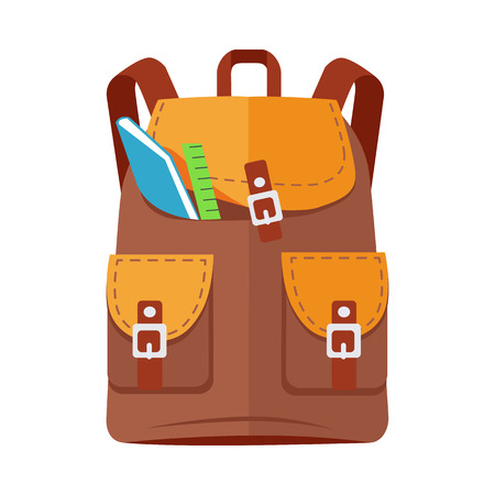 Brown backpack schoolbag icon in flat style. Hiking backpack. Kids backpack with notebook and ruler, education and study school, rucksack, urban backpack vector illustration on white background Illustration