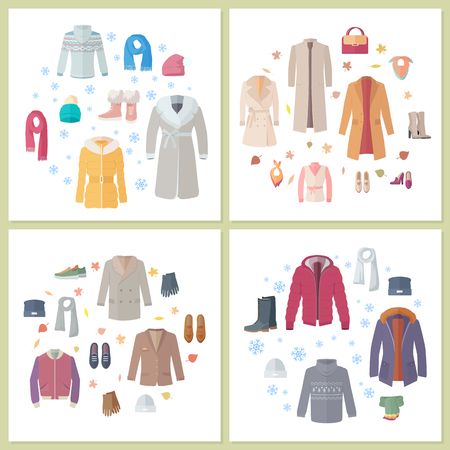 fur coat: Outerwear mens and womens set of clothes and accessories bags and shoes set. Autumn winter collection. Stylish fashionable designers clothes. Best world brand trends. New collection. Vector Illustration