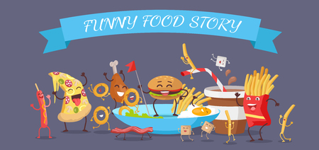 american stories: Funny food story banner. Happy fast food cartoon characters rejoice and dance. French fries, hot dog, pizza, cola, hamburger, fried eggs, chicken leg and bacon cartoon characters. Animated food. Illustration