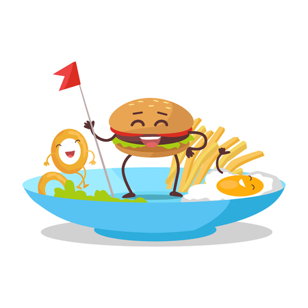 ready cooked: Fast food products concept vector. Flat design. For restaurants menu, diet concepts. Smiling hamburger holding flag on plate with french fries, eggs, onion ring. Tasty breakfast. Order in restaurant Illustration