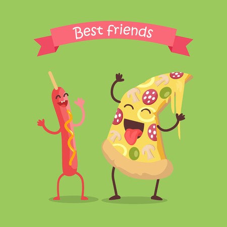 Best friends sausage on stick and pizza dancing. Funny food story conceptual banner. Fresh cooked food characters in cartoon style on disco. Happy meal for children. Childish menu poster. Vector