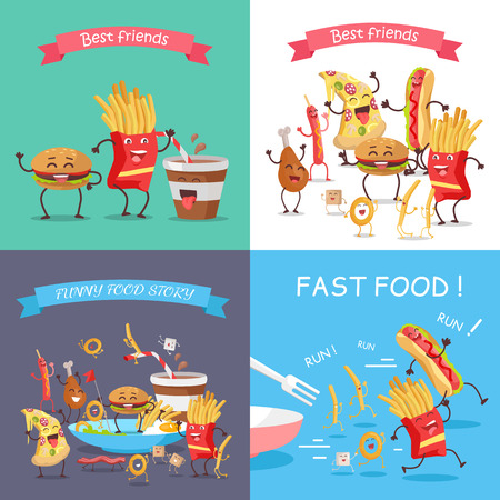 american stories: Fast food cartoon characters banner set. Happy fast food cartoon characters runing, fun, rejoice and dance. French fries, hot dog, pizza, cola, hamburger, fried eggs, chicken leg and bacon characters