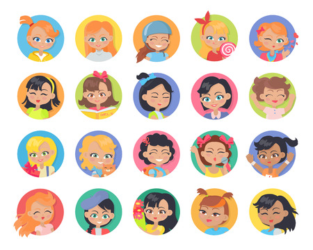 leisure time: Set of girl avatar userpics buttons isolated. Collection of girls having leisure time. School girls during break. Group of kids having fun. Young ladies at playground. Daily activities. Vector