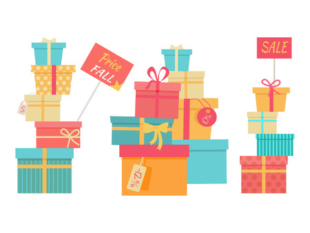 mount price: Price fall sale concept set. Big piles of colorful wrapped gift boxes. Mountain gifts sale. Beautiful present boxes with bows. Gift box icons, symbols. Christmas sale. Isolated vector illustration