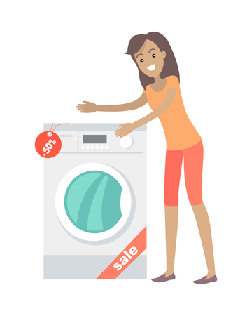 lavadora con ropa: La mujer compra lavadora en estilo plano aislado. Venta de electrodomésticos. Dispositivo electronico. Electrodomésticos. Servicio de lavandería, lavado, lavadora. Eléctrica lavadora de ropa. Arandela de la resbalón. Vector