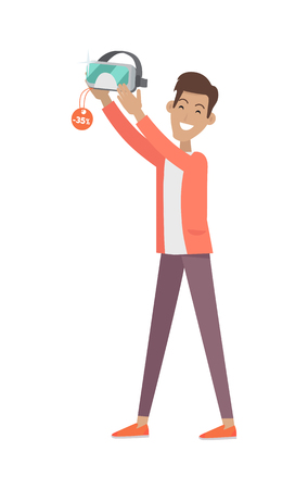 wearer: Man buys desirable VR Glasses or virtual reality helmet with big discount. Sale concept. Provides immersive virtual reality for wearer. Used in computer games, simulators and trainers. Vector Illustration