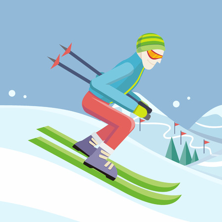 ski slope: Skier on slope vector illustration. Flat design. Man in ski suit sliding from hill with slalom flags. Winter entertainments, outdoor activity and sport. Extreme slalom. For mountain resort ad