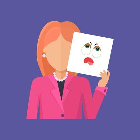 arbitrario: Mujer de carácter vectorial avatar. estilo plano. Pelirrojo retrato femenino con la insipidez, la tristeza, la fatiga, el aburrimiento, el tedio, la máscara emocional. Ilustración para la identidad en Internet, el concepto de estado de ánimo, icono de la aplicación Vectores