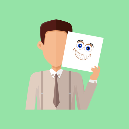 arousal: Man character avatar vector. Flat style. Male portrait with arousal, excitement, joy, surprise, ecstasy, rapture, pleasure emotional mask. Illustration for identity in Internet, mood concept icon