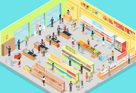 estanterias: interiores supermercado en proyección isométrica. Ilustración 3D de gran sala de operaciones con las secciones de productos estantes, productos, clientes, personal, vendedores, puestos premiados. Para tienda de anuncio, la aplicación, la interfaz del juego. Vector
