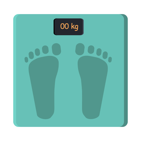 push room: Bathroom scale isolate on white. Foot scale electronic device. Measurement of weight equipment. Household appliance. Instrument for measuring weight. Balance weight control. Vector in flat style