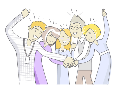 Successful team in linear style isolated on white. Office team in cartoon style. Teamwork in the company. Trustful relationship in business cooperation. Workers as a members of one big family. Vector