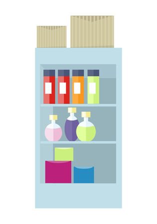 Supermarket interior. Shelf with cosmetic accessories and boxes. Showcase with perfumes in flat design style isolated on white. General store. Part of series of shop equipment. Vector illustration
