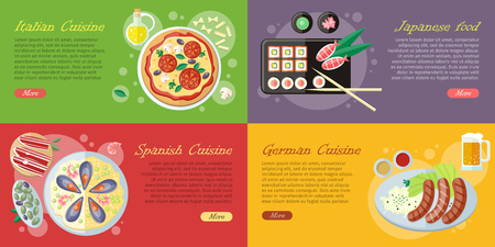 National dishes and drinks web banners. Pizza, beer, sausage, sushi, sea food horizontal concepts on abstract background. German, Japanese, Italian, Spanish cuisine famous meals. For restaurants page