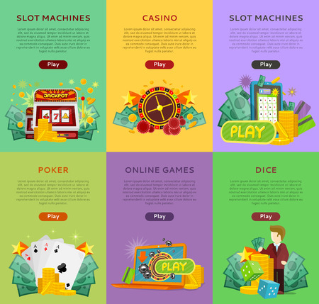 online roulette: Set of gambling vector banners. Flat style. Poker, slot machines, dice, online games vertical illustrations with cards, roulette, money for virtual gamble and entertainments services web page design Illustration