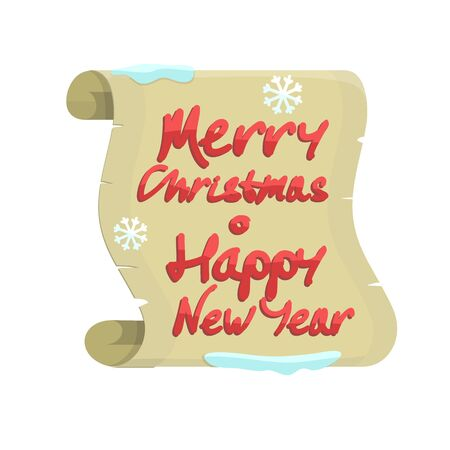 Merry Christmas and Happy New Year colorful banner isolated on white background with snow and snowflakes on a pergament sheet of paper. Xmas greeting card, winter season holiday celebration. Vector Illustration