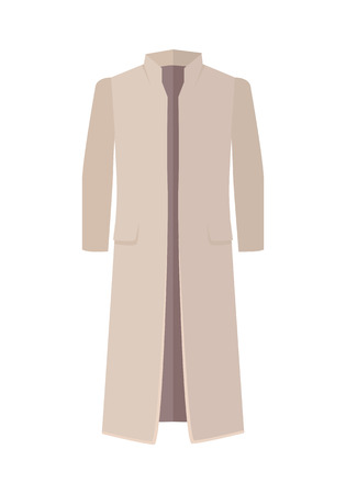 Women grey mackintosh isolated on white. Cozy autumn and winter clothes. Fashionable outerwear. Winter jacket icon flat style design. Fashion wear. Woman long coat illustration. Vector