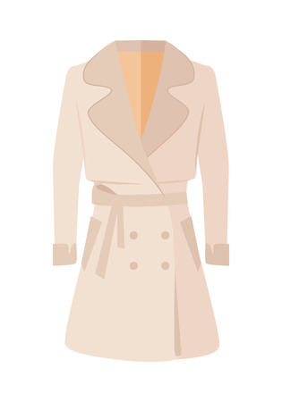 winter jacket: Women double-breasted jacket isolated on white. Cozy autumn and winter clothes. Fashionable outerwear. Winter jacket icon flat style design. Fashion wear. Woman long coat illustration. Vector