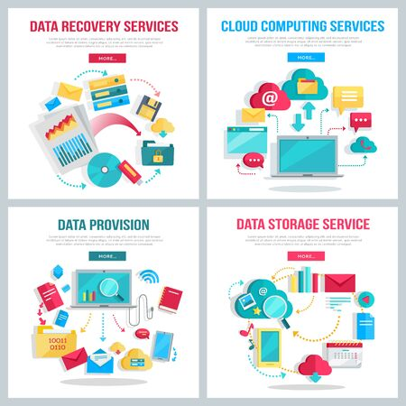 data recovery: Data services set. Data provision, cloud computing services, data recovery service, data storage service banners. Networking communication and data icons on white background. Illustration in flat.