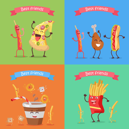 Best friends sausage pizza chicken hot dog soda cola fries cartoon characters. Funny food for childish menu conceptual banner. Meal having fun concept. Dancing happy meal. Vector design illustration