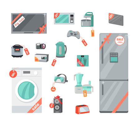 Sale and discount household appliances in flat style. Household appliances and devices with percent discount stickers. Black friday. Illustration for electronics stores advertising. Vector Illustration