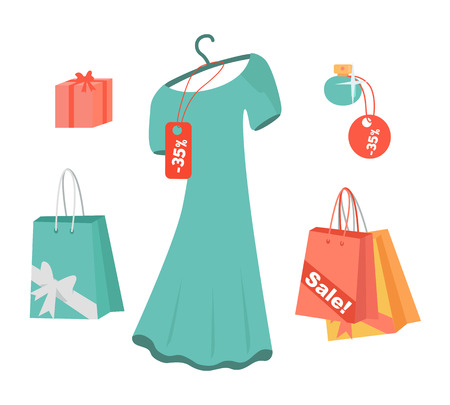 party wear: Party dresses, accessory, perfumes on sale. Black friday Big Sale. Fashion wear, vector. Christmas, winter shopping, retail, discount poster. Paper bags and presents. Jewelry Flat style Vector Illustration