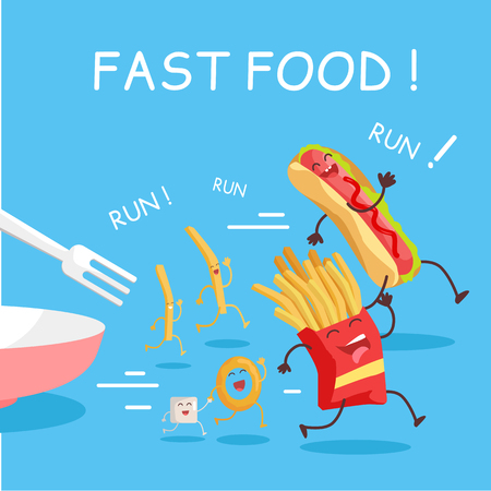 american stories: Fast food cartoon characters banner. Happy fast food cartoon characters running away from fork. French fries and hot dog cartoon characters on blue background. Animated food in flat. Illustration
