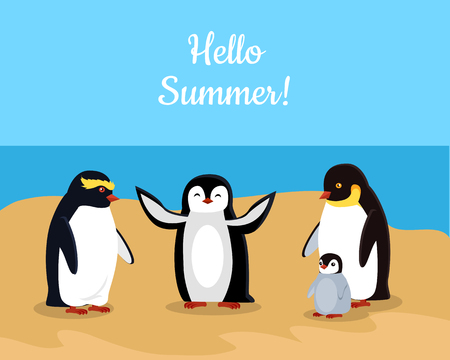 frisky: Hello summer. Funny emperor penguins family on seaside. Black penguins with white belly. Animal adorable penguin vector character. Charming penguin. Wildlife characters greeting you. Vector