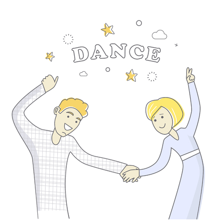 good friends: Man and women dancing. People good friends. Close friendship concept. Banner with happy successful people. Funny students together. Business partners at the party having fun. Vector illustration