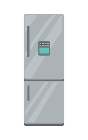 icebox: Refrigerator electronic device isolated on white. Household appliances freezer. Fridge home appliances in flat style. Icebox, magnet fridge door, sale fridge. Cooling device for products. Vector Illustration