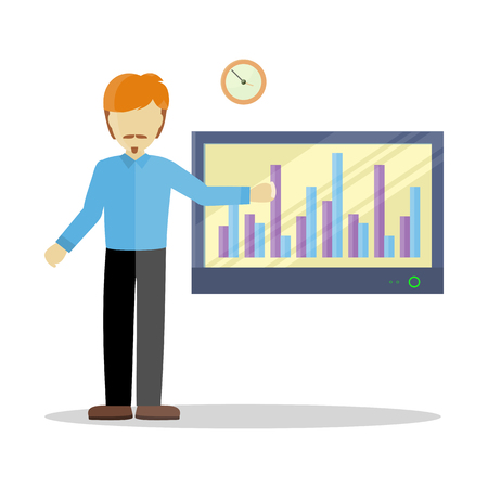 presentation board: Lecturerin in blue shirt and black pants making a presentation near interactive whiteboard with infographics. Business seminar. Board at a presentation with information, scheme, diagram. Illustration