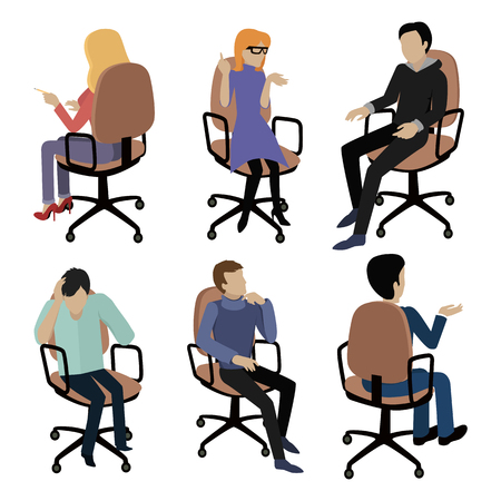 isoated: Set of people sitting on chair. Man and woman at work. Different pose and gestures. Endless work seven days a week. Working moments. Part of series of work at the office. illustration Illustration