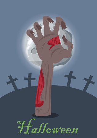 horrible: Zombie hand appears from grave with stone. Night at the cemetery. Horrible arm of undead creature. Happy Halloween concept in flat style. Science fiction cartoon illustration. Horror fantasy.