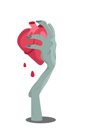 Zombie hand appears with torn heart isolated on white. Horrible arm of undead human creature. Happy Halloween concept in flat style. Science fiction cartoon illustration. Horror fantasy.