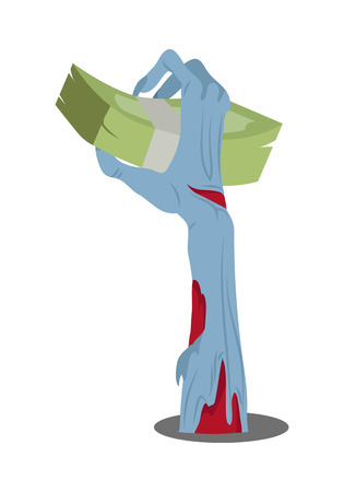 horrible: Zombie hand appears with bundle of money isolated on white. Rich zombie. Horrible arm of undead creature propose money. Halloween concept. Trick or treat. Science fiction cartoon illustration.