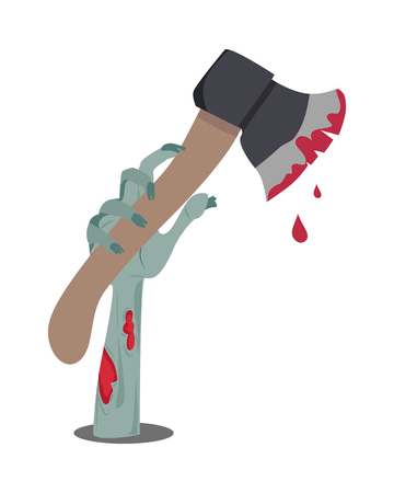 Zombie hand appears with axe in blood isolated on white. Horrible arm of undead human creature. Happy Halloween concept in flat style. Science fiction cartoon illustration. Horror fantasy. Illustration
