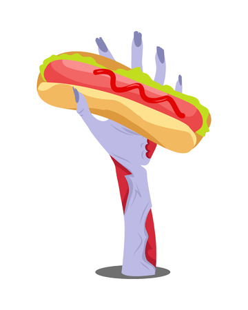 Zombie hand appears with hot dog isolated on white. Hungry zombie. Horrible arm of undead creature has snack. Halloween concept in flat style. Science fiction cartoon illustration. illustration