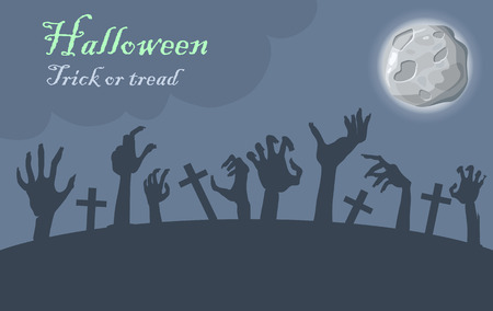 horrible: Halloween. Trick or treat. Zombie hands appear from graves at moonlight. Night at cemetery. Horrible arms of undead creatures. Science fiction cartoon illustration. Horror fantasy.