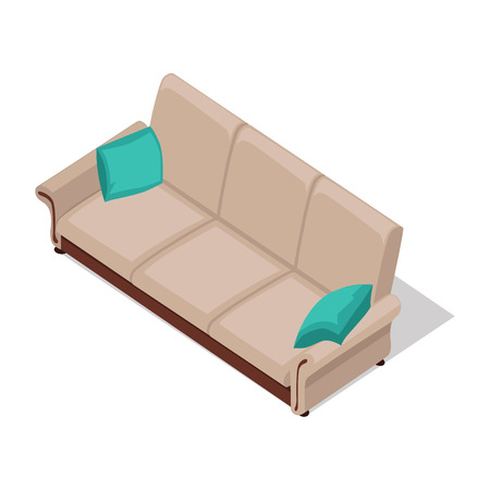 Sofa with pillows in isometric projection. Comfortable furniture illustration for stores advertising, icons, infographics, web and games environment design. Isolated on white background
