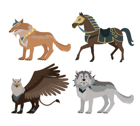 Fantastic battle riding animals in flat style design. Fairy predator beasts in armor model illustration for games industry concepts, icons and pictograms. Isolated on white background. Illustration