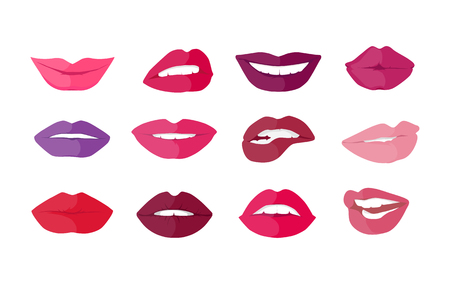 disposition: Set of lips with expression of emotions. Funny emoticons expressing anger, happiness, sadness, joy, surprise, wonder, amazement. Different mood states collection isolated on white.