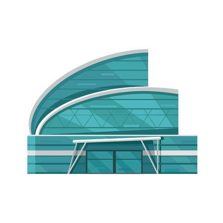 El centro comercial plantilla de página web. Diseño plano. Ejemplo del concepto de edificio comercial para el diseño web, banners. Tienda, centro comercial, centro comercial, supermercado, centro de negocios en el fondo municipio.