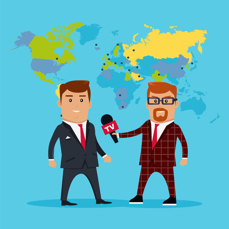 politicians: Interview on the background of the world map. Breaking news concept illustration in flat style design. TV reporter with microphone in hand is to interview experts, politicians, businessmen.