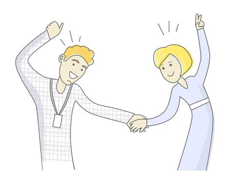Loving young couple dancing. Man and woman dancing. Sweet couple having fun and dancing together. Couple dancing rock n roll. Retro swing dancing. Line art. Isolated object on white background. Illustration