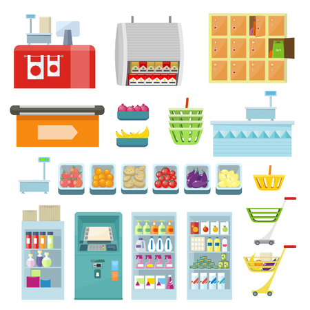 range fruit: Set of trading equipment for shop vector. Flat style. Collection of furniture, inventory, products for grocery store. ATM, register, lockers, scales, refrigerator, truck basket food illustrations