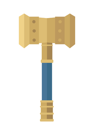 teutonic: Hammer of Thor. Hammer of god. Weapon of major norse god associated with thunder. Weapon of viking. Game object in flat design isolated on white background. illustration.
