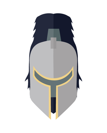 Steel knight s helmet in flat. Cartoon medieval helmet. Armor of knight. Steel medieval armor. Military medieval icon. Game object in flat design isolated on white background. illustration Ilustração